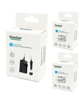 Kastar Battery (X2) & Travel Charger Kit for Canon BP-2L12 BP-2L14 BP-2L15 BP-2L24 BP-2L5 NB-2L12 NB-2L14 NB-2L NB-2LH and DC310 DC330 Elura 60 Vixia HG10 HV20 HV30 ZR100 ZR200 ZR300 ZR500 ZR600 ZR800