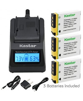 Kastar Ultra Fast Charger(3X faster) Kit and Battery (3-Pack) for Kodak KLIC-7003, K7003, and GE GB-40 work for Kodak EasyShare M380, EasyShare M381, EasyShare M420, EasyShare V803, EasyShare V1003, EasyShare Z950 and GE E1030, E1040, E1050TW, E1240, E125