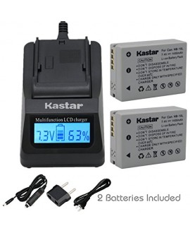 Kastar Ultra Fast Charger Kit and Battery (2-Pack) for Canon NB-10L, CB-2LC work with Canon PowerShot G1 X, PowerShot G15, PowerShot G16, PowerShot SX40 HS, PowerShot SX50 HS, PowerShot SX60 HS
