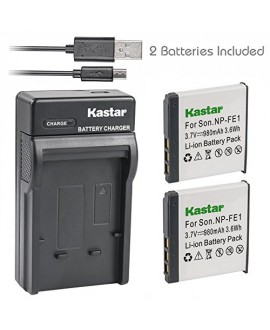 Kastar Battery (X2) & Slim USB Charger for Sony NP-FE1 and Sony Cyber-shot DSC-T7 DSC-T7/B DSC-T7/S DSC-P2 DSC-P3 DSC-P5 DSC-P9 DSC-P7 Digital Camera