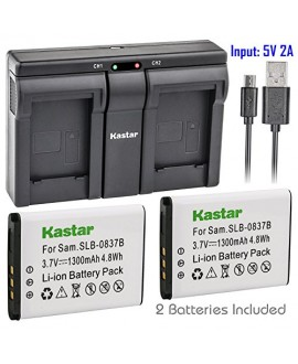 Kastar 2x Battery + USB Dual Charger for Samsung SLB-0837B SLB-0837(B) Samsung Digimax L70 Digimax L83T L85T Samsung Digimax L201 L301 Digimax NV8 Digimax NV10 Digimax NV15 Digimax NV20 Digimax SL201