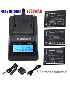 Kastar Ultra Fast Charger(3X faster) Kit and Battery (3-Pack) for Panasonic DMW-BCH7, DMW-BCH7PP, DMW-BCH7E, DE-A76 work with Panasonic Lumix DMC-FP1, DMC-FP2, DMC-FP3, DMC-FT10, DMC-TS10 Cameras [Over 3x faster than a normal charger with portable USB cha