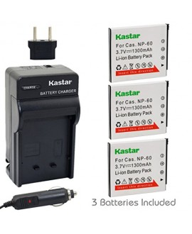 Kastar Battery (3-Pack) and Charger Kit for Casio NP-60 NP60 CNP60 and Casio Exilim EX-FS10 EX-S10 EX-S12 EX-Z9 EX-Z19 EX-Z20 EX-Z21 EX-Z25 EX-Z29 EX-Z80 EX-Z85 EX-Z90 Digital Cameras