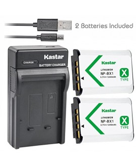 Kastar Battery (X2) & Slim USB Charger for Sony NP-BX1 and Cyber-shot DSC-HX50V,DSC-HX300,DSC-RX1 RX1R RX100 RX100 II RX100M II RX100 III RX100M3 WX300, HDR-AS10 AS15 AS30V AS100V AS100VR CX240 Camera