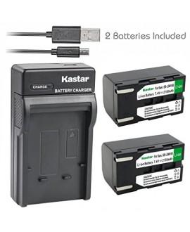 Kastar Battery (X2) & Slim USB Charger for Samsung SB-LSM160 and SC-D351 VP-D351 VP-D351i VP-D352 VP-D352i VP-D353 VP-D353i VP-D354 VP-D354i VP-D647 VP-D651 VP-D653 VP-DC161 VP-DC161i VP-DC163 DC163i