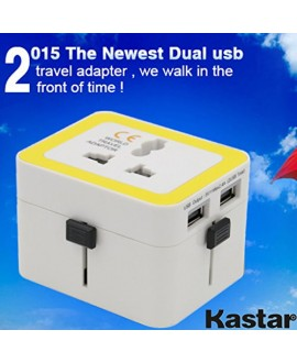 Kastar Safety Universal World-Wide Travel Adapter 2.1A with Dual USB Charger All-in-one AC Power Plug For AUS USA EU UK, 2015 the Newest Dual USB Trave Adapter (White Color with Green)