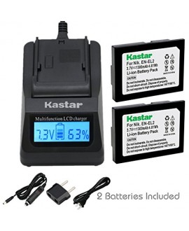 Kastar Ultra Fast Charger(3X faster) Kit and Battery (2-Pack) for Nikon EN-EL2 work with Nikon Coolpix 2500, Nikon Coolpix 3500, Nikon Coolpix SQ500 Digital Cameras [Over 3x faster than a normal charger with portable USB charge function]