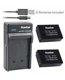 Kastar Battery (X2) & Slim USB Charger for Canon LP-E17, LC-E17, LC-E17C and Canon EOS M3, EOS Rebel T6i, EOS Rebel T6s, EOS 750D, EOS 760D, EOS 8000D, Kiss X8i camera