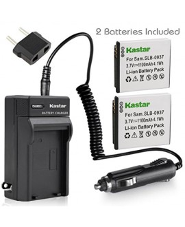 Kastar Battery (X2) & AC Travel Charger for Samsung SLB-0937 SLB0937 0937 Battery, Samsung Digimax L830, Samsung Digimax L730, Samsung Digimax i8 Digital Cameras