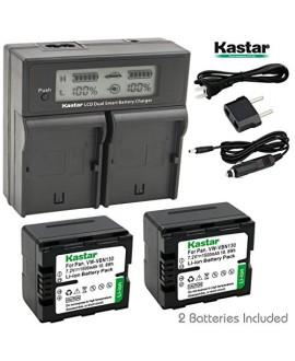 Kastar LCD Dual Smart Fast Charger & 2 x Battery for Panasonic VW-VBN130 and Panasonic HC-X800, HC-X900, HC-X900M, HC-X910, HC-X920, HC-X920M, HDC-HS900, HDC-SD800, HDC-SD900, HDC-TM900 Camcorder
