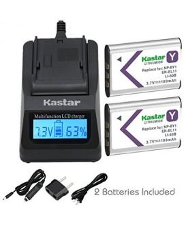 Kastar Fast Charger + Battery 2X for NP-BY1 EN-EL11 LI-60B DLI-78 DB-L70 DB-80 Sony Action Cam Mini HDR-AZ1 Nikon Coolpix S550 S560 Olympus FE-370 Pentax Optio L50 M50 M60 V20 W60 W80 Ricoh R50