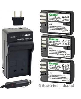 Kastar D-Li90 Battery (3-Pack) and Charger Kit work with Pentax K-01 K-3 K-5 K-5II K-5IIs K-7 645D 645Z Cameras