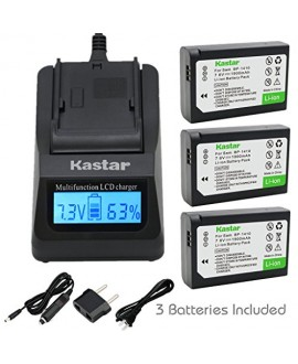 Kastar Ultra Fast Charger(3X faster) Kit and BP-1410 Battery (3-Pack) for Samsung BP1410 and NX30 WB2200F Digital Cameras