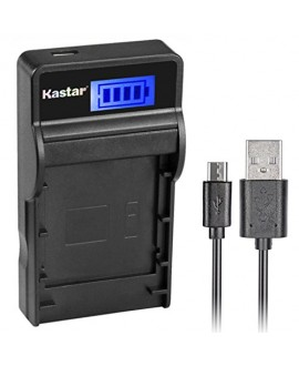 Kastar SLIM LCD Charger for JVC BN-VF815, BNVF815 and Everio GC-PX10, GC-PX100, GS-TD1, GZ-HD300, GZ-HD320, GZ-HM1, GZ-HM200, GZ-HM400, GZ-MG630, GZ-MG650, GZ-MG670, GZ-MG680, GZ-MS120, GZ-MS130