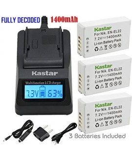 Kastar Ultra Fast Charger(3X faster) Kit and Battery (3-Pack) for Nikon EN-EL22, MH-29 work with Nikon 1 J4, Nikon 1 S2 Cameras [Over 3x faster than a normal charger with portable USB charge function]