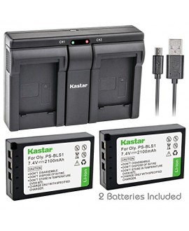 Kastar BLS1 2x Battery + USB Dual Charger for Olympus BLS-1, PS-BLS1 and Olympus E-400, E-410, E-420, E-450, E-600, E-620, E-P1, E-P2, E-P3, E-PL1, E-PL3, E-PM1 Camera