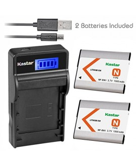 Kastar Battery (X2) & Slim LCD USB Charger for Sony NP-BN1 NPBN1 BC-CSN and Cyber-shot DSC-QX10 DSC-QX30 DSC-QX100 DSC-TF1 DSC-TX10 DSC-TX20 DSC-TX30 DSC-W530 DSC-W570 DSC-W650 DSC-W800 DSC-W830
