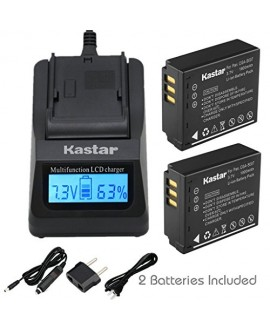 Kastar Ultra Fast Charger(3X faster) Kit and Battery (2-Pack) for Panasonic Lumix CGA-S007, CGA-S007A and DMW-BCD10 and Lumix DMC-TZ1, DMC-TZ2, DMC-TZ3, DMC-TZ4, DMC-TZ5, DMC-TZ11, DMC-TZ15, DMC-TZ50