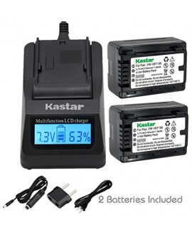 Kastar Fast Charger and Battery (2-Pack) for Panasonic VW-VBT190 and HC-V110 V130 V160 V180 HC-V201 V210 V250 HC-V380 HC-V510 V520 V550 HC-V710 V720 V750 V770 HC-VX870 HC-VX981 HC-W580 W850 HC-WXF991