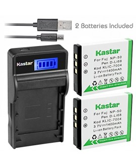 Kastar Battery (X2) & SLIM LCD Charger for Kodak KLIC-7004 K7004 NP-50 D-Li68 and EasyShare M2008 V1273 V1233 V1253 Zi8 Zi12 PlayFull Dual PlaySport PlayTouch Pentax Q7 Q10 Q-S1 Ricoh WG-M2 Camera