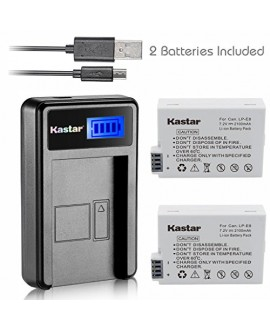 Kastar Battery (X2) & LCD Slim USB Charger for Canon LP-E8, LC-E8E and Canon EOS 550D, EOS 600D, EOS 700D, EOS Rebel T2i, EOS Rebel T3i, EOS Rebel T4i, EOS Rebel T5i Cameras, Grip BG-E8