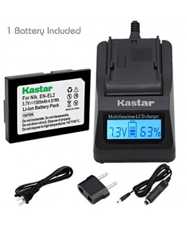 Kastar Ultra Fast Charger(3X faster) Kit and Battery (1-Pack) for Nikon EN-EL2 work with Nikon Coolpix 2500, Nikon Coolpix 3500, Nikon Coolpix SQ500 Digital Cameras [Over 3x faster than a normal charger with portable USB charge function]