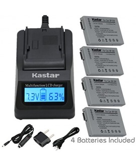 Kastar Fast Charger and BP-208 Battery (4X) for Canon DC10 DC19 DC20 DC21 DC22 DC40 DC50 DC51 DC95 DC100 DC200/201/210/211 DC220/230 Elura 100 FVM300 IXY DVS1 MVX1Si/430/450/460 Optura S1 VIXIA HR10
