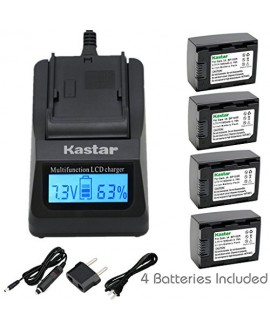 Kastar Fast Charger Kit and Battery (4-Pack) for IA-BP105R and Samsung HMX-F80 F90 HMX-F800 F900 SMX-F50 SMX-F53 SMX-F54 SMX-F500 SMX-F501 SMX-F530 SMX-F70 SMX-F700 HMX-H300 H303 H304 H305 HMX-H320