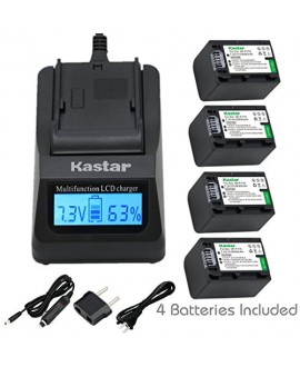 Kastar Ultra Fast Charger(3X faster) Kit and Battery (4-Pack) for Sony NP-FV70,CB-TRV,TRV-U and Sony DCR-SR15,SR21,SR68,SR88,SX21,SX45,SX63,SX65,SX85,FDR-AX100,HDR-CX105,CX130,CX155,CX160,CX190,CX200,CX260V,CX290,CX300,CX305,CX330,CX350V,CX360V,CX380,CX43