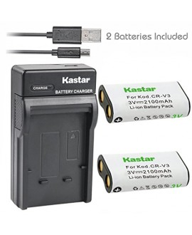 Kastar Battery (X2) & Slim USB Charger forr CR-V3 LB-01 and Olympus C3000 D565 D-100 D-150 D-230 D-370 D-380 D-390 D-40 D-460 D-490 D-520Z D-560Z, Kodark EasyShare C310 C530 C875 + More Camera