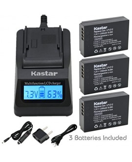 Kastar Ultra Fast Charger(3X faster) Kit and Battery (3-Pack) for Canon LP-E12 work with Canon EOS M, EOS Rebel SL1, EOS 100D Cameras