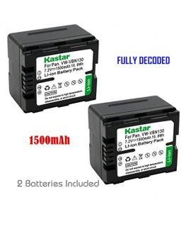 Kastar Battery (2-Pack) for Panasonic VW-VBN130 VW-VBN260 work with Panasonic HC-X800 HC-X900 HC-X900M HC-X910 HC-X920 HC-X920M HDC-HS900 HDC-SD800 HDC-SD900 HDC-TM900 Cameras