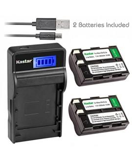 Kastar Battery (X2) & SLIM LCD Charger for Nikon EN-EL3a, ENEL3A, EN-EL3, ENEL3, MH-18, MH-18a and Nikon D50, D70, D70s, D100 Cameras