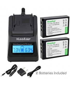 Kastar Ultra Fast Charger(3X faster) Kit and Battery (2-Pack) for Olympus BLS-1, PS-BLS1 work for Olympus E-400 E-410 E-420 E-450 E-600 E-620 E-P1 E-P2 E-P3 E-PL1 E-PL3 E-PM1 Cameras [Over 3x faster than a normal charger with portable USB charge function]