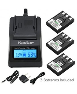 Kastar Fast Charger + Battery (3-Pack) for Canon NB-3L, PowerShot SD10, SD100, SD110, SD20, SD500, SD550, Digital IXUS 700, 750, i5, Digital 30, 600, 700, D30, D30a, D53Z, IXY Digital L, Digital L2