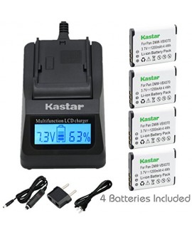 Kastar Ultra Fast Charger(3X faster) Kit and Battery (4-Pack) for Pentax D-Li88, Panasonic VW-VBX070, Sanyo DB-L80, DB-L80AU Battery and Digital Cameras (Search your Camera Model down Description)