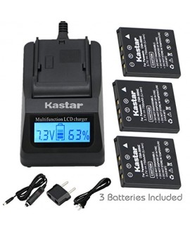 Kastar Ultra Fast Charger(3X faster) Kit and Battery (3-Pack) for Kodak KLIC-7005, Samsung SLB-0737, SLB-0837, Panasonic CGA-S004, CGA-S004A, CGA-S004E, CGR-S001B, DMW-BCB7, Fujifilm NP-40, NP-40N, Sanyo NP-40, UF55346, Pentax D-Li8and DE-992, BC-40, SBC