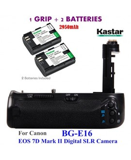 Kastar Pro Multi-Power Vertical Battery Grip (Replacement for BG-E16) + 2x LP-E6 Replacement Batteries for Canon EOS 7D Mark II (Not for EOS 7D) Digital SLR Camera