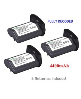 [Full Coded] Kastar LP-E4 Battery (3-Pack) 11.1V 4400mAh 48.4Wh for Canon LP-E4 LPE4 Li-ion Battery work with Canon EOS-1D C, EOS-1D Mark III, EOS-1Ds Mark III, EOS-1D Mark IV Cameras