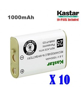 Kastar HHR-P103 Battery (10-Pack), Type 25, NI-MH Rechargeable Battery 3.6V 1000mAh, Replacement for Panasonic HHR-P103 / P-P103, AT&T, GE, Vtech Cordless phone (Detail Models in the Description)