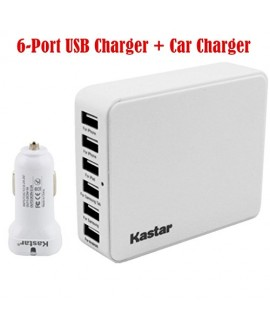 Kastar 35 Watts 5V 6.5A 6-Port USB Desktop Rapid Charger Station With Kastar Dual-Port Rapid USB Car charger, Multi Port USB Wall Charger, Portable Travel Charger Hub for iPhone 6, 6 Plus, 5S, 5C, 5, iPad Air, iPad2,3,4,iPad Mini, iPods Samsung Galaxy S5,
