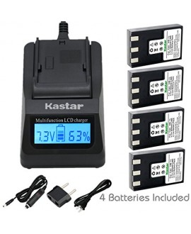 Kastar Ultra Fast Charger(3X faster) Kit and NB-1L Battery (4-Pack) for Canon NB-1L NB-1LH CB-2LSE work with Canon IXY Digital 200 200a 300 300a 320 400 430 450 500 S200 S230 S330 PowerShot S200 S230 S300 S330 S400 S410 S500 Cameras [Over 3x faster than a