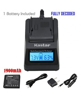 Kastar Ultra Fast Charger(3X faster) Kit and Battery (1-Pack) for Panasonic DMW-BCJ13, DMW-BCJ13E, DMW-BCJ13PP, Leica BP-DC10, BP-DC10-E, BP-DC10-U work with Panasonic Lumix DMC-LX5 DMC-LX55 DMC-LX5K DMC-LX5W DMC-LX7 and Leica D-Lux 5, D-Lux 6 Cameras [Ov