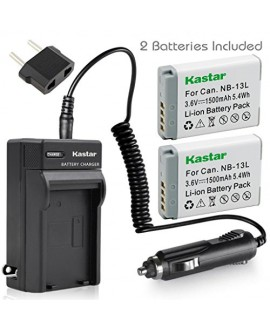 Kastar Battery (X2) & Travel Charger Kit for Canon NB-13L, NB13L and Canon PowerShot G5 X, Canon PowerShot G7 X, Canon PowerShot G9 X, Canon SX620 HS, Canon SX720 HS Digital Camera
