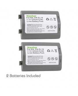 Kastar Battery (2-Pack) for Nikon EN-EL18, EN-EL18a, ENEL18, ENEL18a, MH-26, MH-26a, MH26 and Nikon D4, D4S, D5 Digital SLR Camera, Nikon MB-D12, D800, D800E Battery Grip