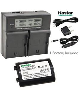 Kastar LCD Dual Smart Fast Charger & Battery (1 PACK) for Nikon EN-EL4, EN-EL4A, ENEL4, ENEL4A and Nikon D2Z, D2H, D2Hs, D2X, D2Xs, D3, D3S, D3X, F6 Camera, Nikon MB-D10, D300, D300S, D700, MB-40 Grip
