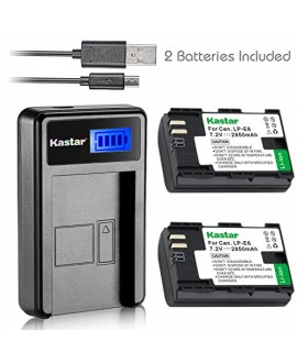 Kastar Battery (X2) & LCD Slim USB Charger for Canon LP-E6, EOS 5DS, 5DS R, 5D Mark II, 5D Mark III, 6D, 7D, 7D Mark II, 60D, 60Da, 70D, 80D, XC10, BG-E16, BG-E14, BG-E13, BG-E11, BG-E9, BG-E7, BG-E6