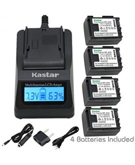 Kastar Ultra Fast Charger(3X faster) Kit and BP808 Battery (4-Pack) for Canon BP-807, BP-808, BP-809 and Canon HFM400 HF100 M300 S100 S200 FS36 FS37 HF200 HFS11 HF100 HF20 HG21 FS406 Cameras
