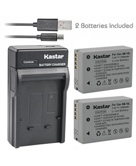 Kastar Battery (X2) & Slim USB Charger for Canon NB-10L, NB10L and PowerShot SX40 HS SX40HS, SX50 HS SX50HS, G1 X G1X, Powershot G15, PowerShot G16 Digital Cameras