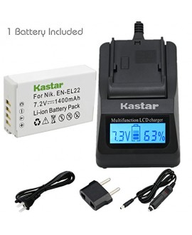 Kastar Ultra Fast Charger(3X faster) Kit and Battery (1-Pack) for Nikon EN-EL22, MH-29 work with Nikon 1 J4, Nikon 1 S2 Cameras [Over 3x faster than a normal charger with portable USB charge function]